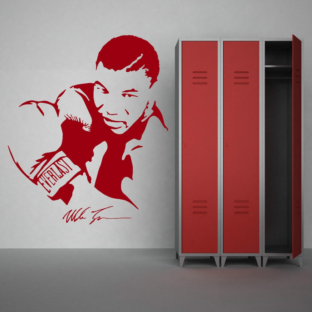 3d poster design online - 3d Poster Mike Tyson Boxer Vinyl Wall Stickers Removable Gym Wall Stickers Home Decor Living Room