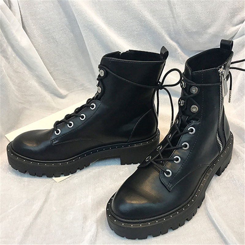 Image 5 - Boussac/Ботинки Martin на шнуровке с заклепками; женские ботильоны с круглым носком; короткие плюшевые зимние ботинки; женская обувь; Botas Mujer; SWE0212-in Полусапожки from Обувь