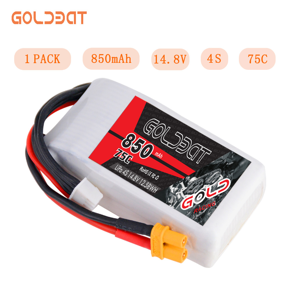 GOLDBAT 850mAh LiPo Battery For FPV 4S LiPo Battery LiPo 14.8V 4S Lipo 75C With XT30 Plug For Drone Heli Car Boat