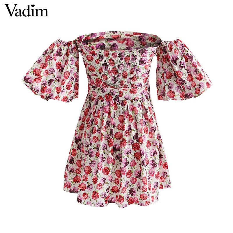 CUERLY women floral print mini dress bow tie sashes slash neck short sleeve female summer A line dresses vestidos in Dresses from Women 39 s Clothing