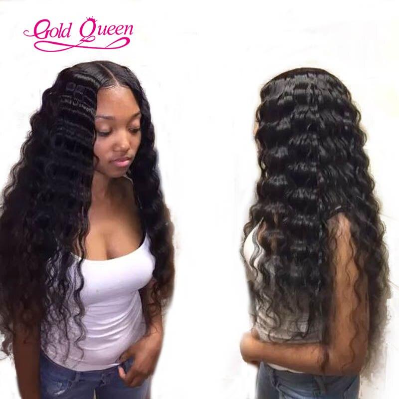 Full Lace Wig Malaysian Human Hair Deep Wave Glueless Long
