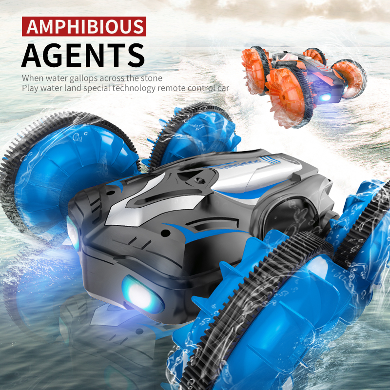 RC Car Driving Sports Cars TAW-C10 2.4G Water Land Amphibious Agents Waterproof Double Side Remote Control Stunt Car Toy