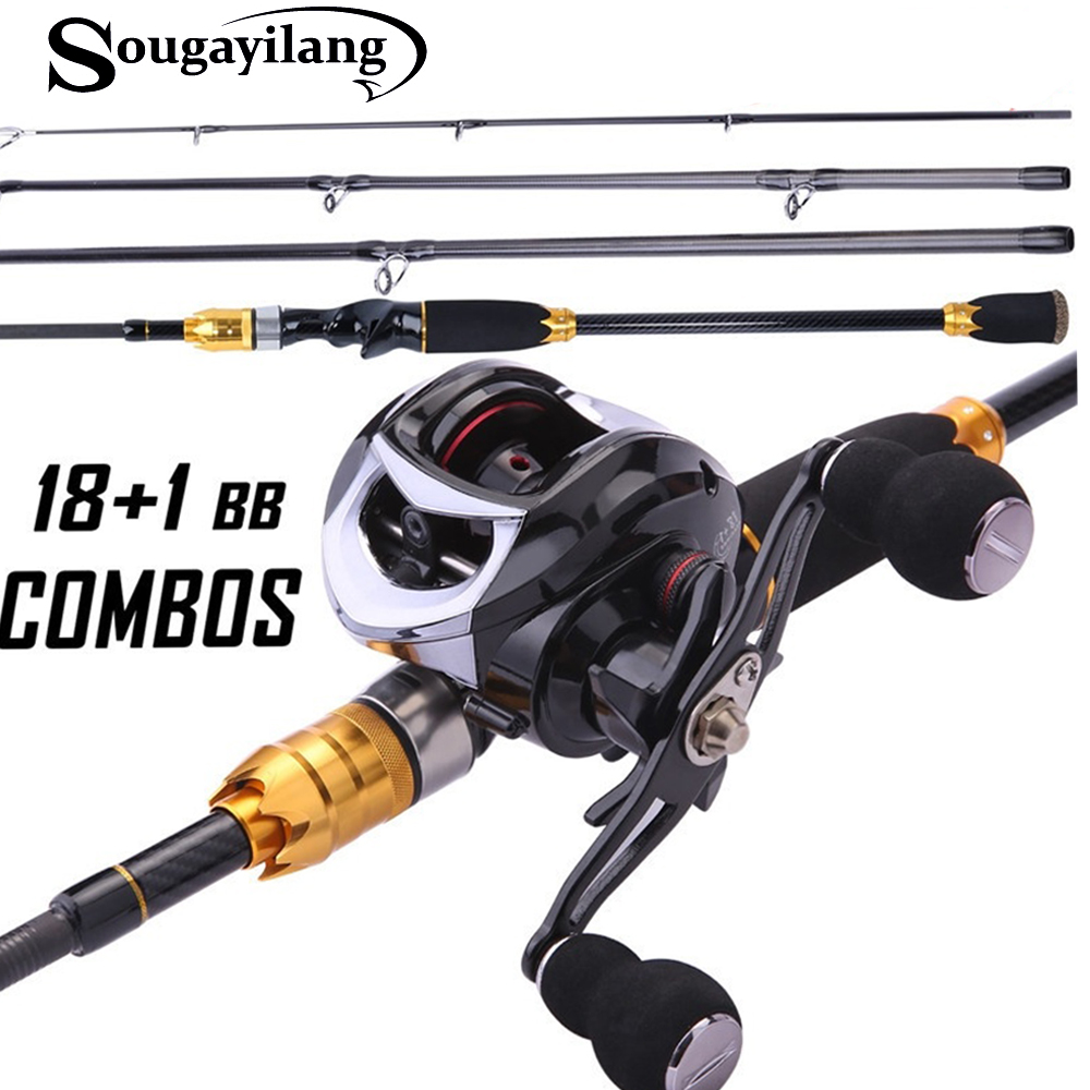 Sougayilang Fishing-Rod-Set Reel Travel Baitcasting Saltwater And for Portable