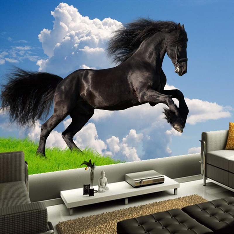 Us 812 56 Offcustom 3d Nature Scenery Blue Sky White Clouds Black Horse Mural Wallpaper Living Room Sofa Tv Background Wall Papers Home Decor In