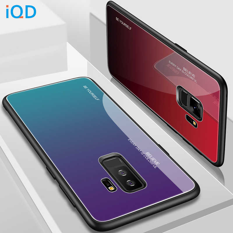 IQD tempered glass phone case For Samsung Galaxy S8 S9 plus Note 8 9 A7 A5 A6 A8 2018 J4 J6 J8 TPU bumper back protective cover