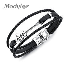 Modyle New Classic Multilayer Genuine Leather Handmade Braided Jewelry Punk Rock Stainless Steel Guitar Bracelet For Men(China)