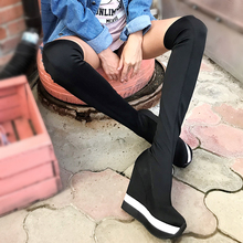 women winter boots stretch fabric fashion high heels women s boots elegant over the knee long boots winter boots Pink Palms  Autumn Winter Shoes Women Over The Knee Sexy High Heels Wedge Boots Stretch Fabric Sock Boots Students Boots