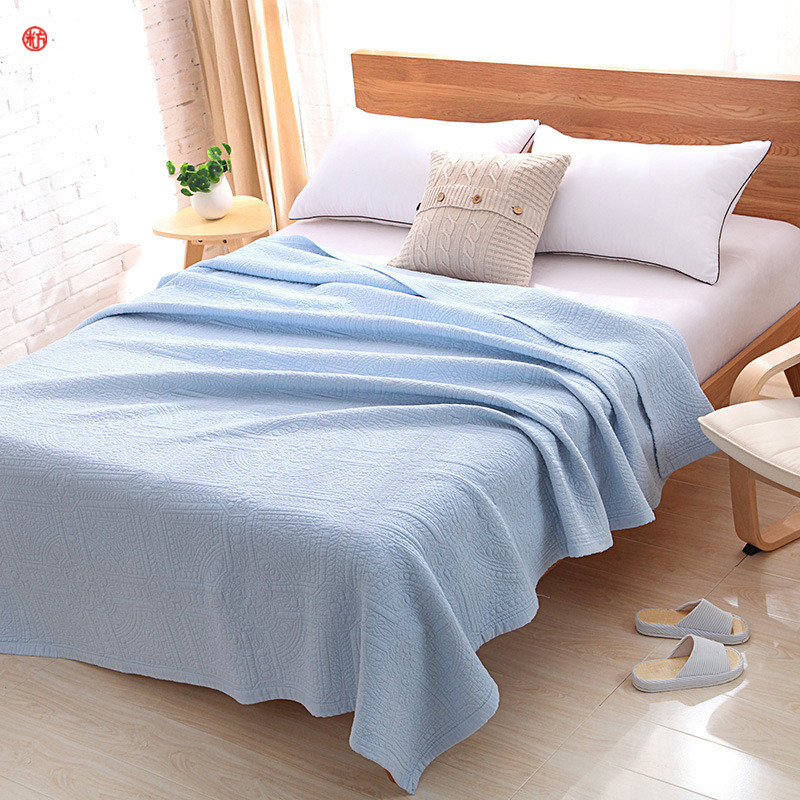 bleu manuel quilting beige patchwork couette 100 coton literie couvre lit air conditionn couvre lit - Couverture Lit