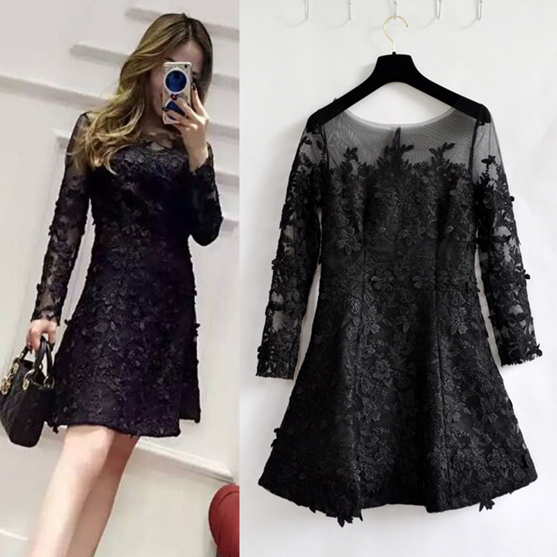 Vestidos Sexy Dress Women Long Sleeve Temperament Gauze Perspective Lace Dress Black Party Dresses Robe Pull