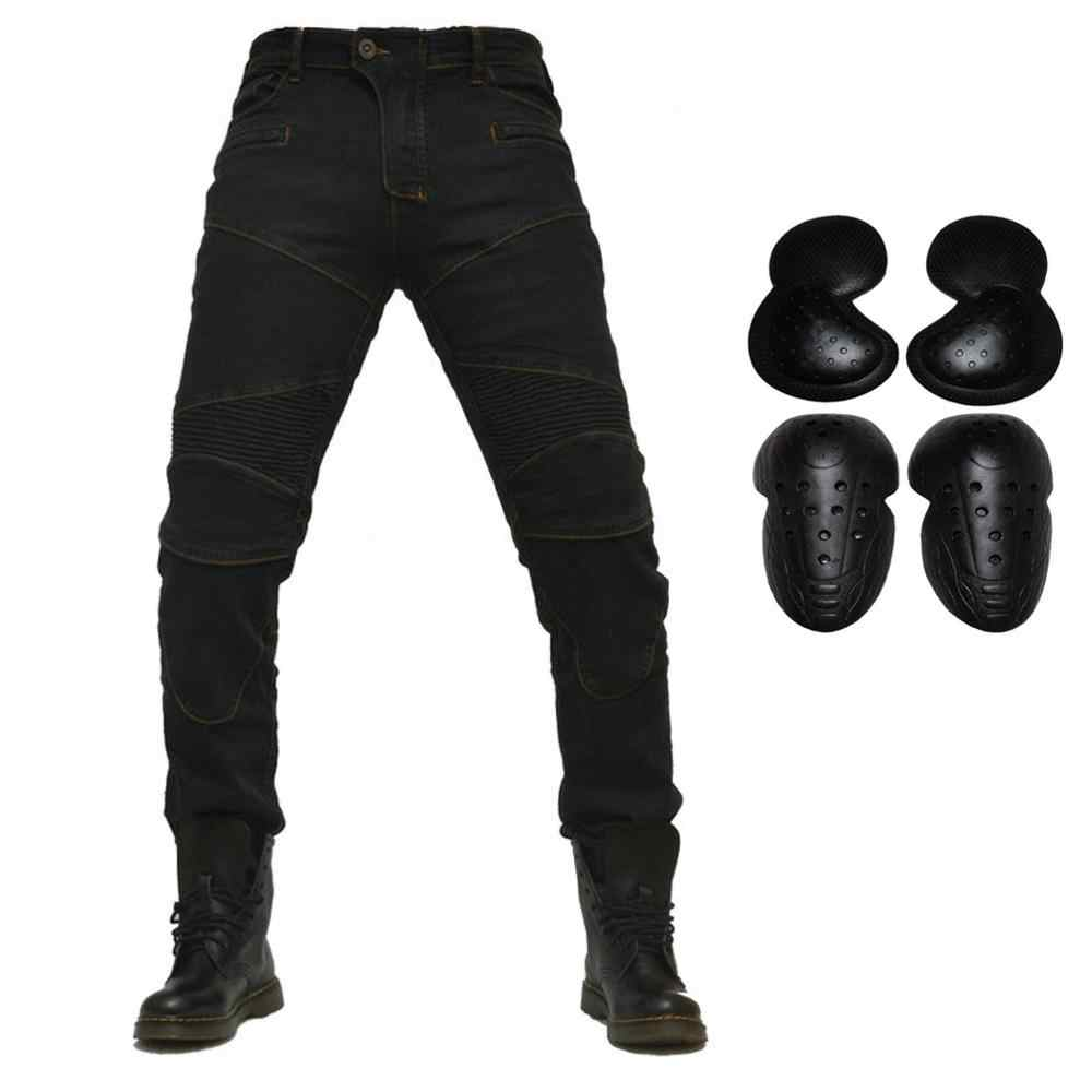 Pantaloni di Guida del motociclo Moto Da Corsa Jeans Armatura Pantalons Biker Pantaloni da ciclismo con 4 X CE Aggiornamento Ginocchio Hip Pad di Protezione