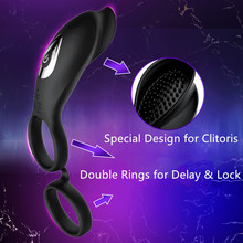 Sex Toy Delaying Penis Sleeve Cock Ring Vibrator Dildo cover Granule Massage Rabbit Clitoris Remote Double Ring Stimulator