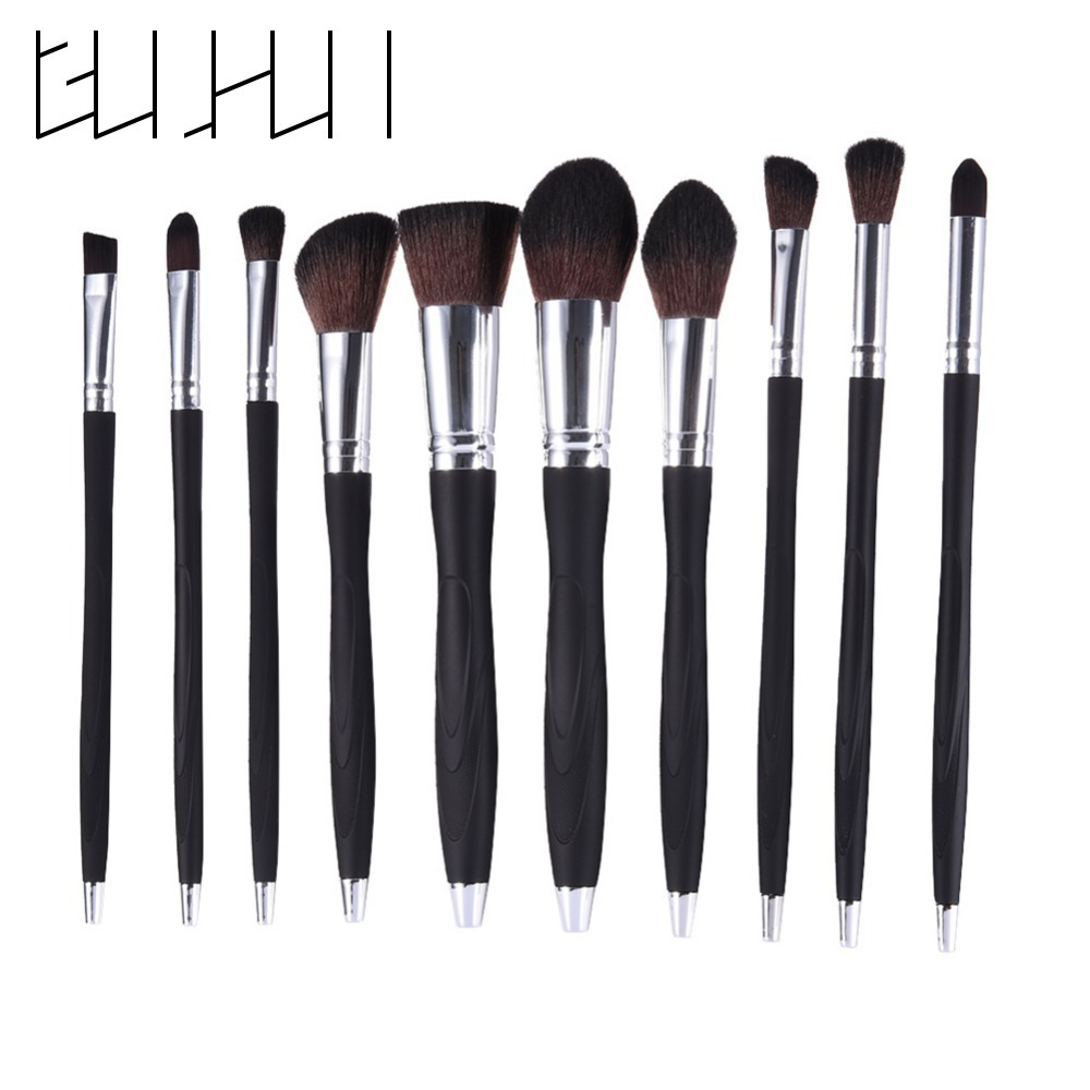 10Pcs Professional  Black Makeup Brushes Set Nylon Foundation Powder Blushes Contour Eyeshadow  Beauty Cosmetics Brushes Tool menu чаша black contour