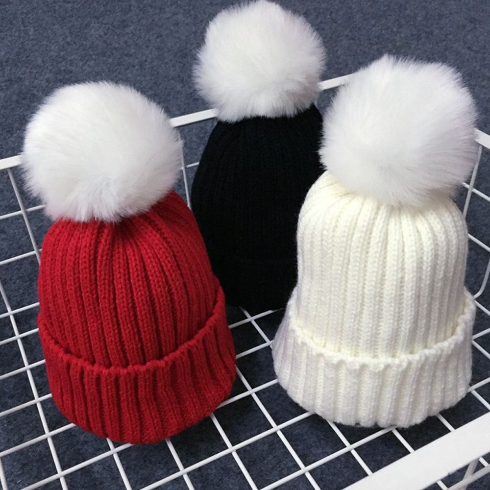 Lovely Kids Winter Warmer Crochet Knitting Hat Children Soft  Wool Fur Cap Boys Girls Beanie Pompom Ball Party Adjustable Hat the new children s cubs hat qiu dong with cartoon animals knitting wool cap and pile
