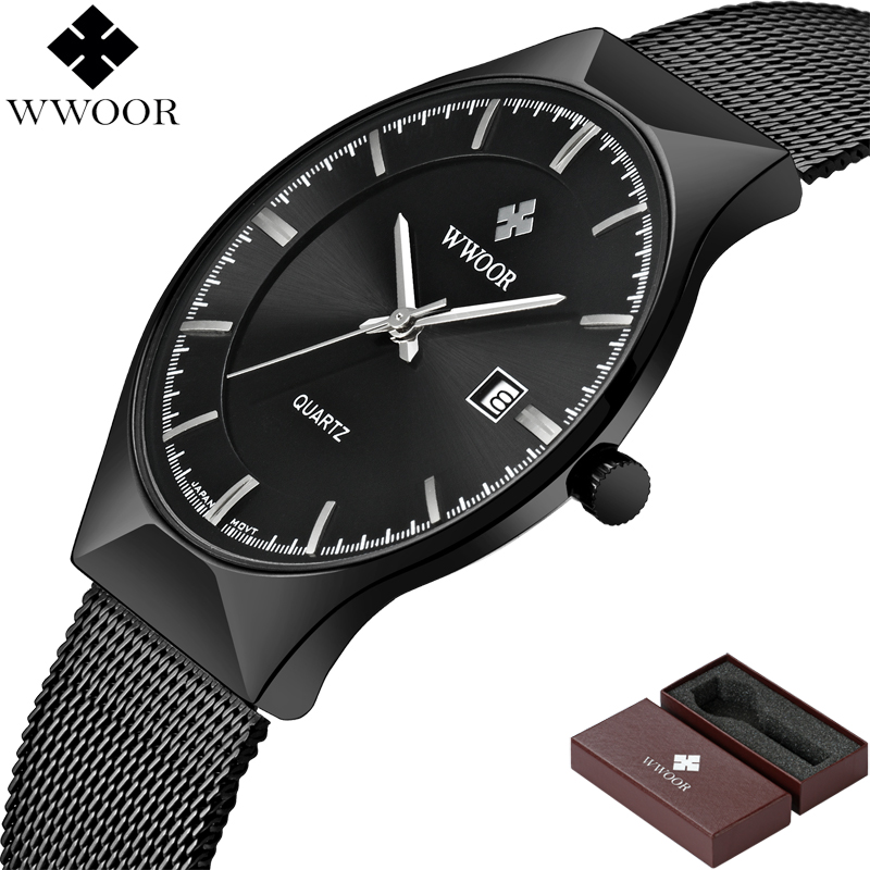 Image 4 - WWOOR Brand Luxury Mens Watches Waterproof Ultra Thin Date Clock Male Steel Mesh Silver Sport Men Quartz Watch relogio masculino-in Quartz Watches from Watches