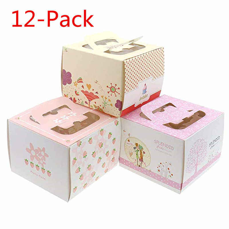 12-Packs Cake Boxes Window Birthdays Cake 5 inch kitchen baking package portable pink strawberry cheese decorations