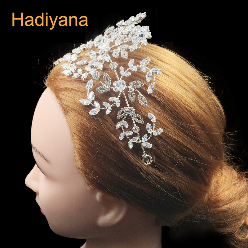Hadiyana Fashion Charm Stone Party Headpieces Beautiful Soft Copper Headwear Wedding Costume Headpiece With Cubic Zircon