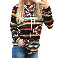 Harajuku T Shirt Women Casual Long Sleeve Piled Collar Geometric Print Multicolor Design Bandage Sweatshirt