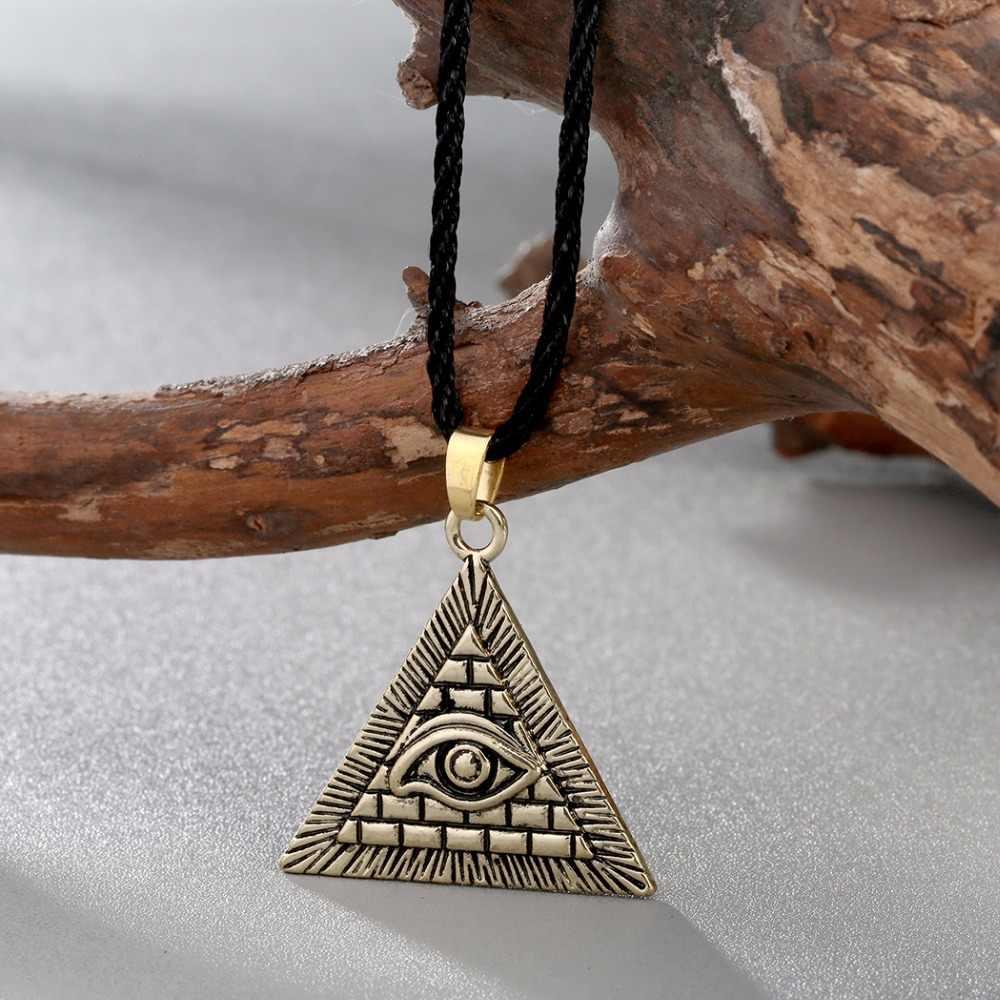QIMING Vintage hommes collier femmes egypte pyramide tout-voyant mauvais œil Illuminati pendentif en argent colliers