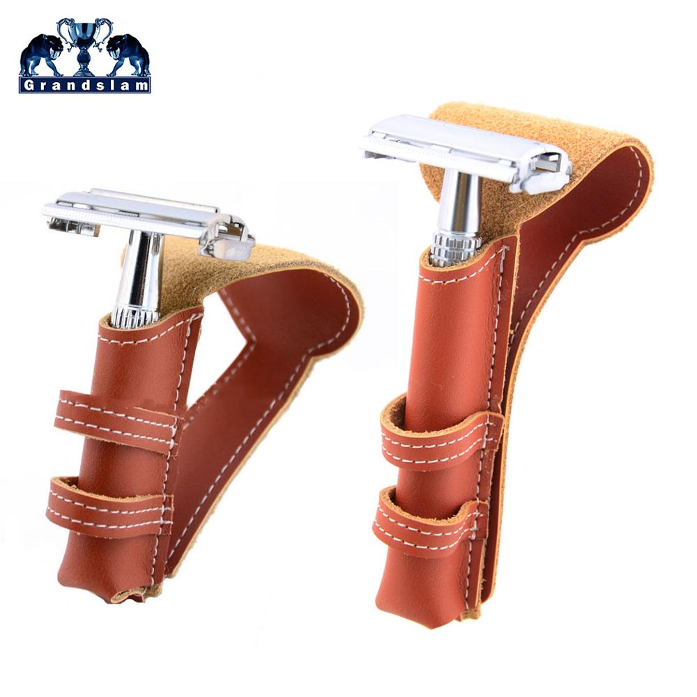 Grandslam Genuine Leather Portable Travel Razor Holder Pouch Protector Case Storage  For Manual Razor Suitable For Most Razors