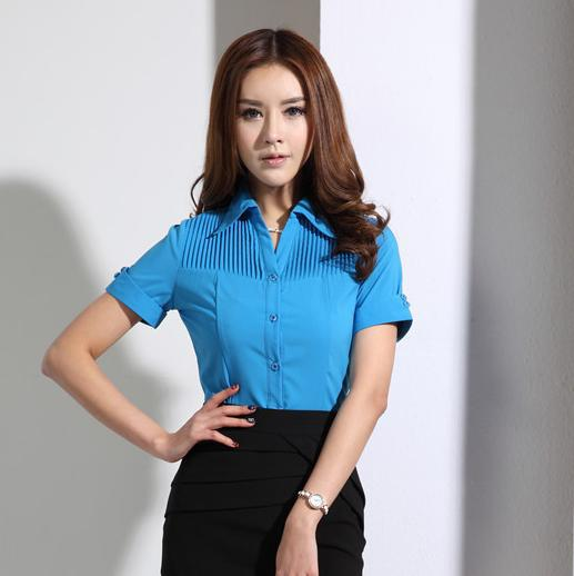 9d739c5d950 New 2015 Summer Formal Shirts Women Blouses OL Office Ladies Shirts Short  Sleeve Female Tops Work Wear Office Uniform Plus Size-in Blouses   Shirts  from ...