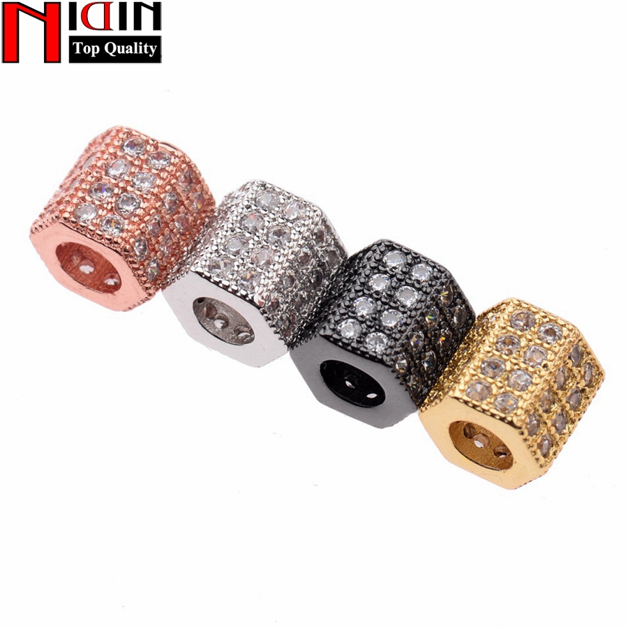 Fashion CZ Square Beads Charms Fit Bracelet Necklace Design Copper Metal DIY Crystal Beads for Jewlery Making