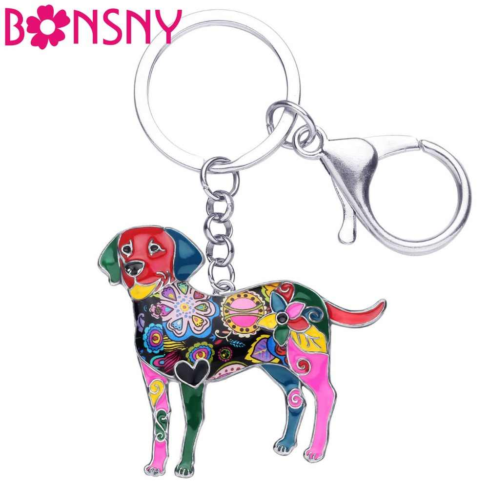 Bonsny Enamel Labrador Dog Key Chain Key Ring New Jewelry For Women Girls Bag Charm Pendant Car Key Holder Keychain Accessories