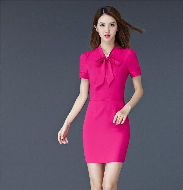 fa05636cf Moda mujer vestidos de verano Formal Oficina señoras vestido de trabajo  manga corta OL estilos