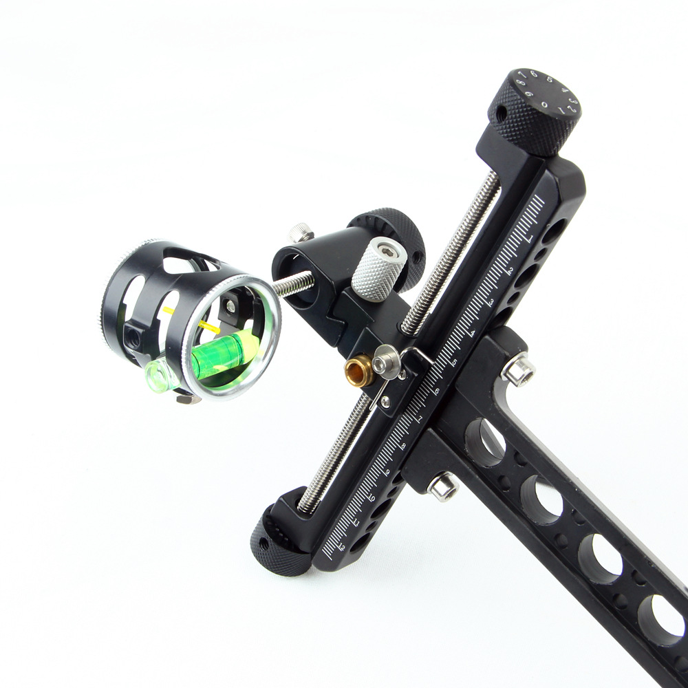 Professional 1 Pin 0 059 Compound Bow Sight with Micro Adjust Long Pole for Hunting Shooting