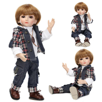 45CM Realistic CowBoy Doll Looking American Boy Prince Baby Dolls 18 Inch Safe Full Vinyl joint Dolls for Kids Gift NPK COLLRCTI