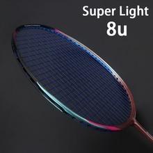8U 65 г профессиональная ракетка для бадминтона из углеродного волокна, супер светильник, разноцветные ракетки 22-35lbs Sports Force Padel