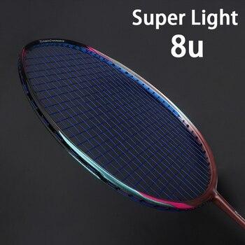 Профессиональная ракетка для бадминтона из углеродного волокна 8U 65 г, ракетка для бадминтона, суперлегкие разноцветные ракетки 22-35 фунтов, ...
