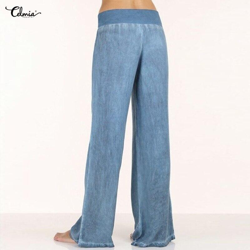 a47ac258692 Celmia 2018 Pantalon Wysoka Talia Palazzo Spodnie Kobiety W Pasie Szeroka  nogi Spodnie Jeansowe Niebieskie Dżinsy Kobiet Eleganckich Spodni Plus Size  S 5XL ...