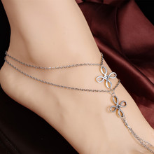 1pcs New Vintage Boho Silver Color Tassel ChineseKnot Pendant MultiLayer Chain Link Anklet Bracelet Foot Jewelry For Women 3564