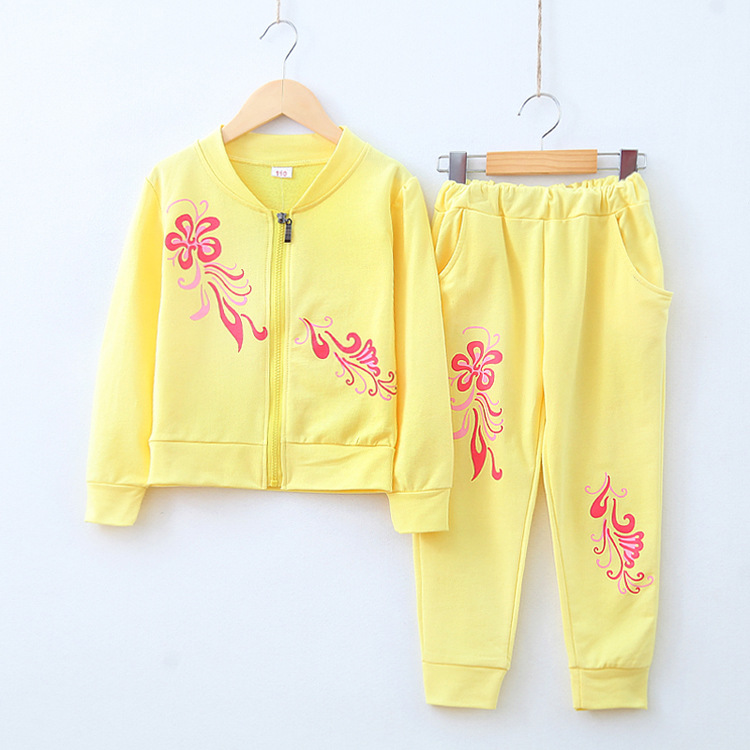 New autumn teenage girl clothing sets baby girls lovely flower candy color sports suits kids cotton jogging set children clothes
