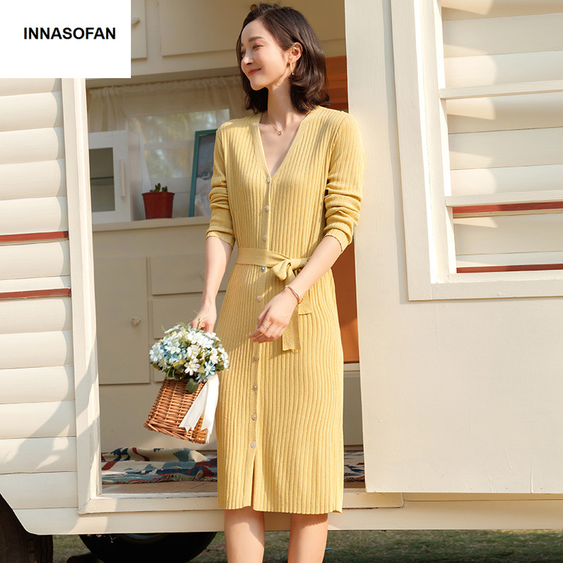 INNASOFAN dress female Spring summer knitted dress Euro American fashion elegant dress with belt and V