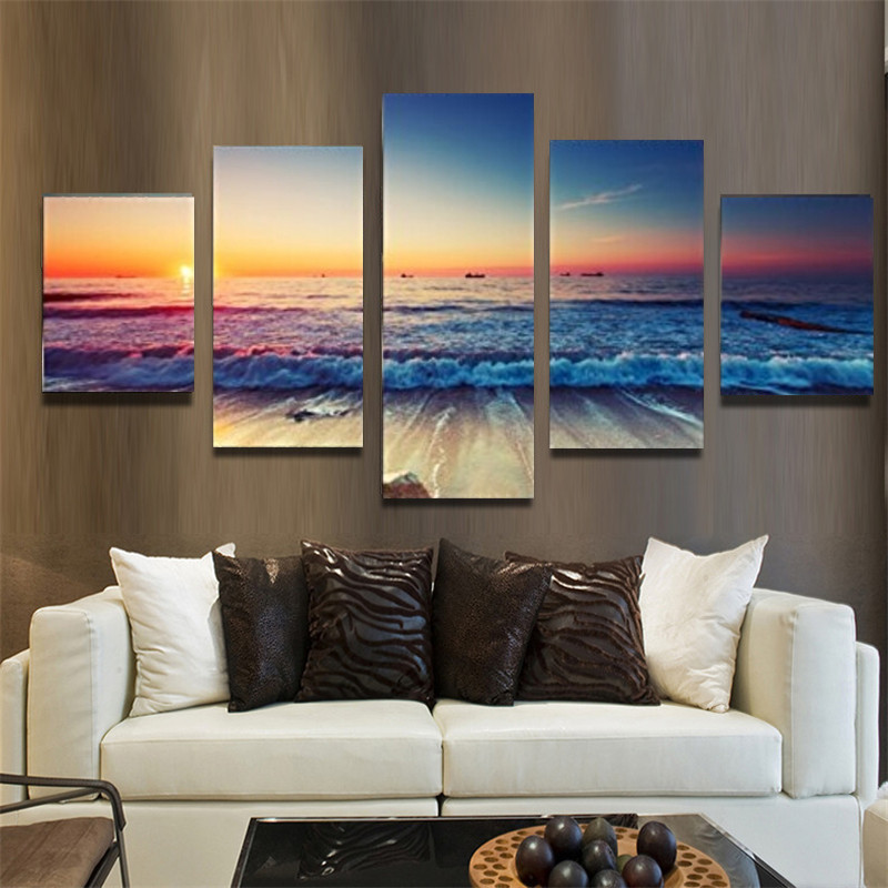 Diy 5pcs set Full Square Diamond Painting sea sunrise landscape Diamond Embroidery Cross Stitch Rhinestone Painting