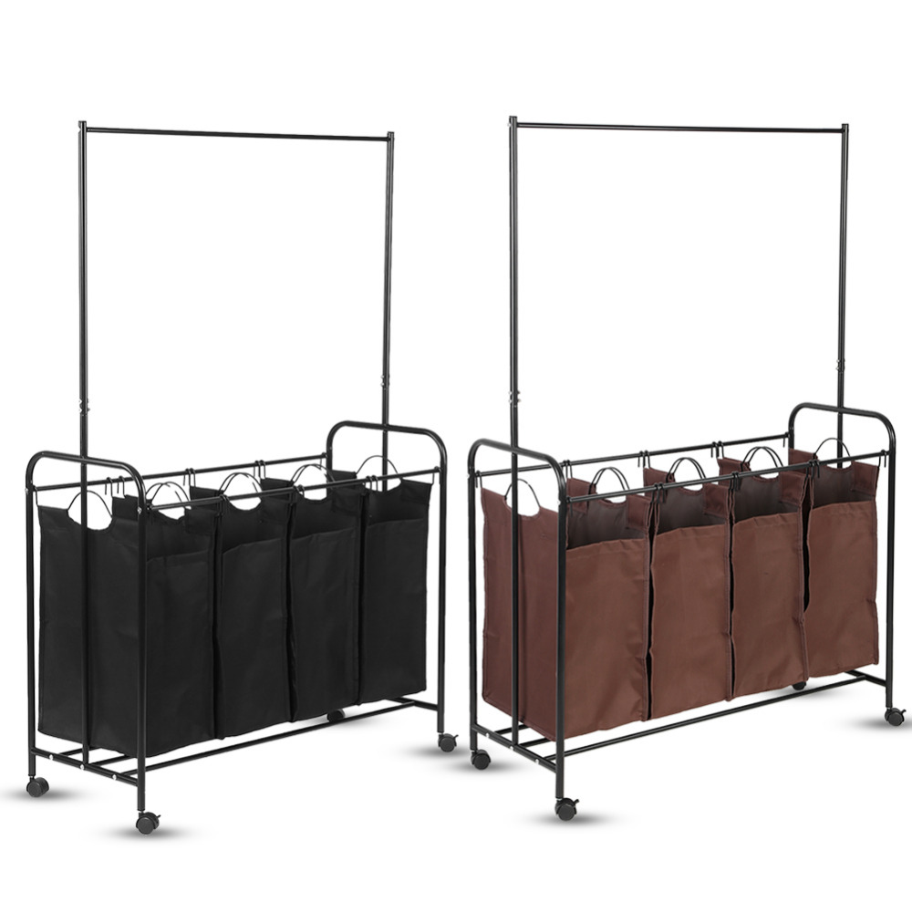 4 Durable Laundry Basket Detachable Bags Mobile Detergent Storage Sorting Trolley Cart With Clothes Rod In Baskets From Home