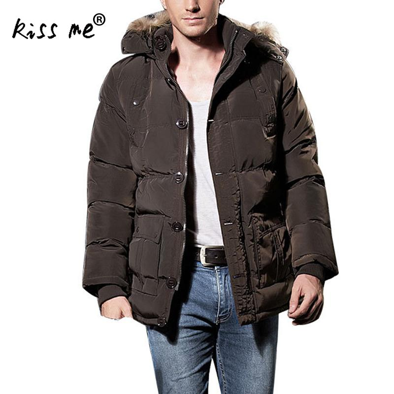 New 2017 Winter Cotton Coat Men Wadded Jacket Fur Collar Hooded Slim Men's Parkas Thick Warm Male Overcoat Plus Size купить