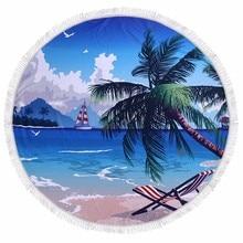 ФОТО summer palm banana tree leaves bath microfiber round beach towel large picnic beach mats serviette de plage diameter 150cm