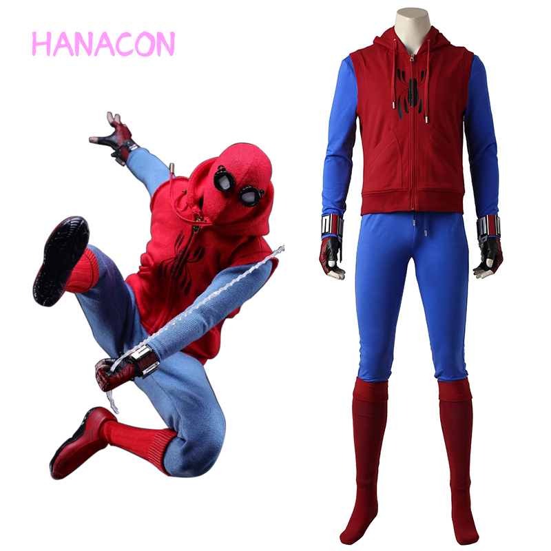 <font><b>Spider-Man</b></font> Homecoming Costume Peter Benjamin Parker Cosplay Halloween Spiderman Hoodies Sweater Spider Man Vest <font><b>Web</b></font> <font><b>Shooter</b></font> Mask