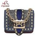 Тенденции моды дизайн змеиной кожи шить заклепки цепи женские случайные сумки на ремне сумки дамы crossbody сумка кошелек чехол