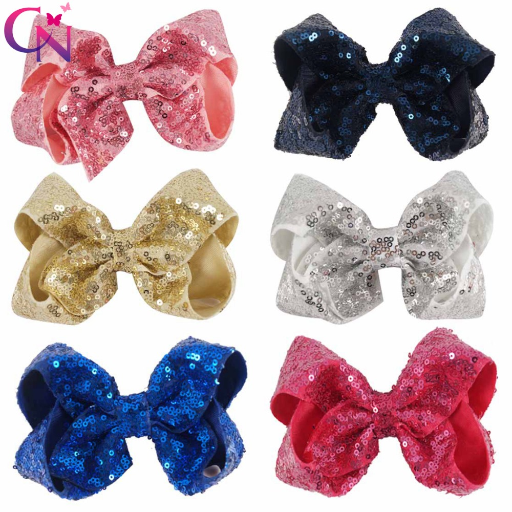 12 Pieces/lot 5 Messy Sequin Hair Bows With Clips For Kids Girls Boutique Bling Plain Ribbon Bows Hairgrips Hair Accessories