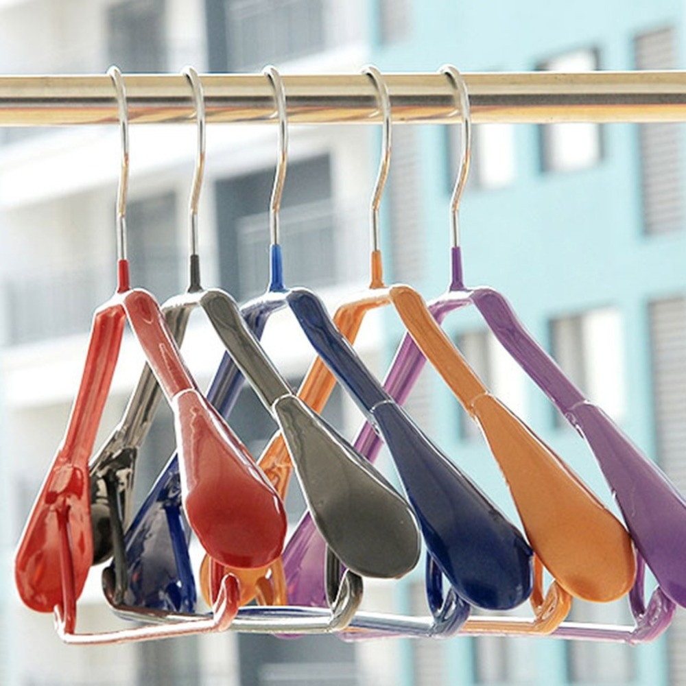 Metal + Plastic Home Clothes Hanger Tie Belt Hanging Rack Wordrobe Clothing Suits Organizer Holders Clothes Draining Drying Rack