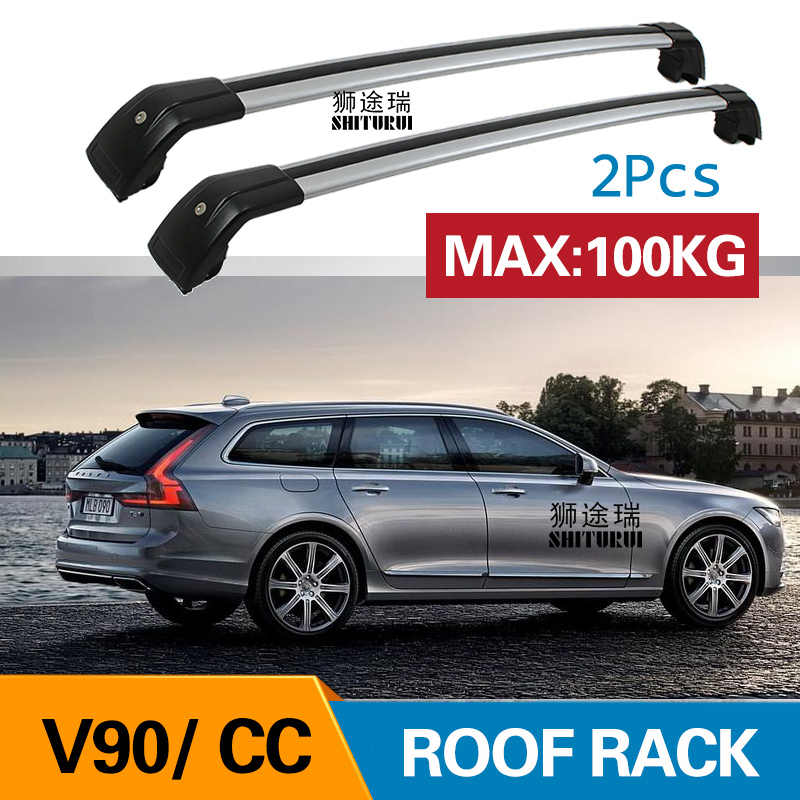 2pcs Roof Bars For Volvo V90 Cc Cross Country 235 236 2016 Today Aluminum Alloy Side Bars Cross Rails Roof Rack Luggage Carrier Aliexpress