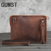 GUMST Original Crazy Horse Genuine Leather Retro Briefcase Bags Men Vintage Luxury Business Envelope Laptop Messenger Bag New