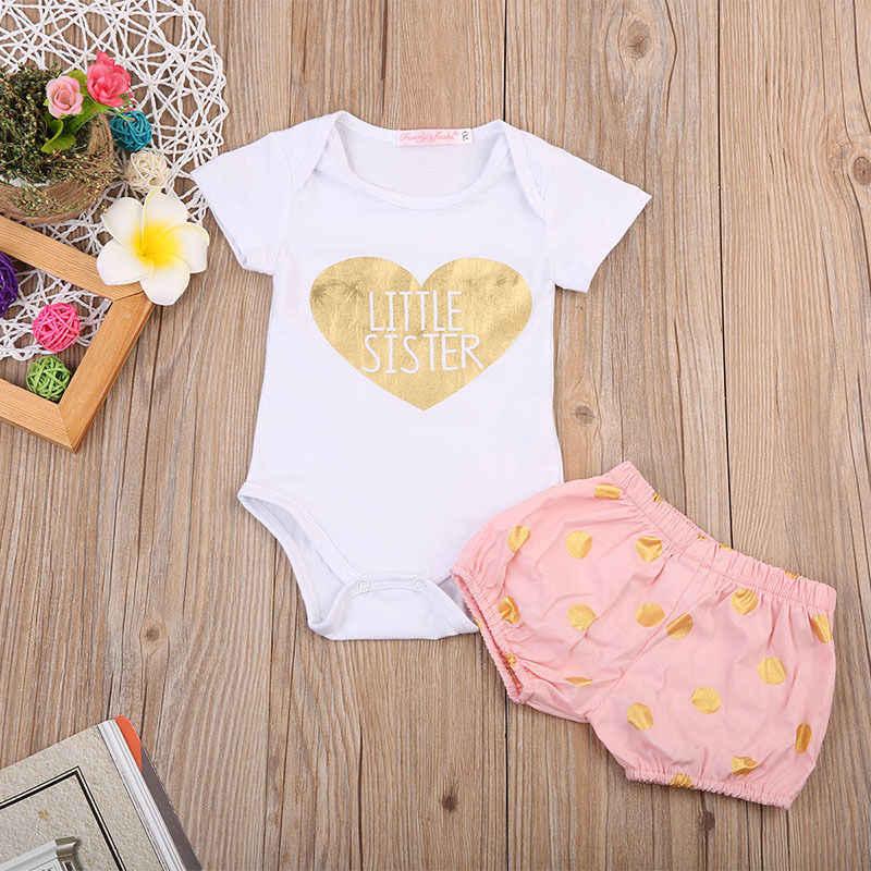 Комплект одежды для новорожденных девочек, летний костюм, футболка с большой сестренкой, Шорты для маленьких сестер, юбки, боди для девочек, 2 предмета