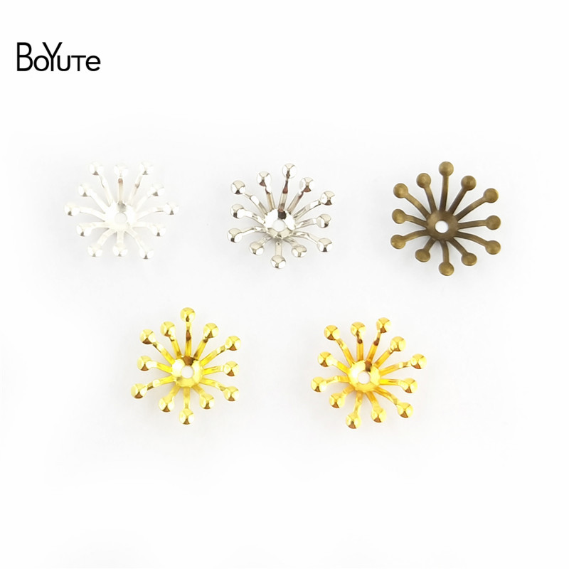 BoYuTe 200Pcs 4 Colors 13MM Flower Charms Wholesale Filigree Metal Brass DIY Jewelry Charms for Wedding Hair Accessories (1)