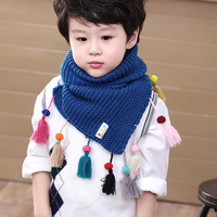 Luxury Brand 2017 Autumn and Winter Children Warm Scarf Fashion Tassel Girls Boys Shawls Wraps Kids Lic Scarves Knitted Snood
