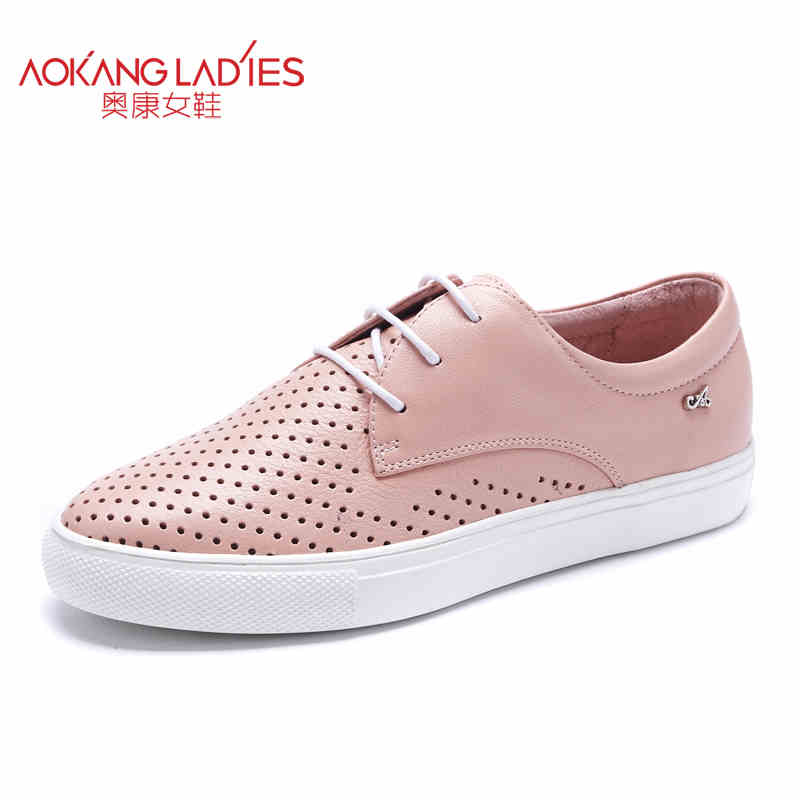Aokang 2017 New arrival women flat genuine leather shoes red pink white women shoes breathable and