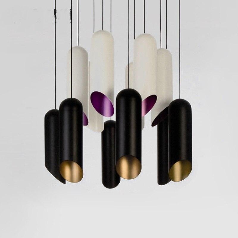 Işıklar ve Aydınlatma'ten Kolye ışıkları'de Kolye işıkları yaratıcı stil ve stil kahve dükkanı bar masası restoran siyah ve beyaz silindir kolye lamba ZZP426701
